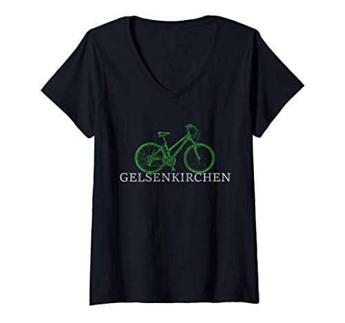 Damen Grüne Mobilität - Nachhaltig mit Fahrrad in Gelsenkirchen T-Shirt mit V-Ausschnitt