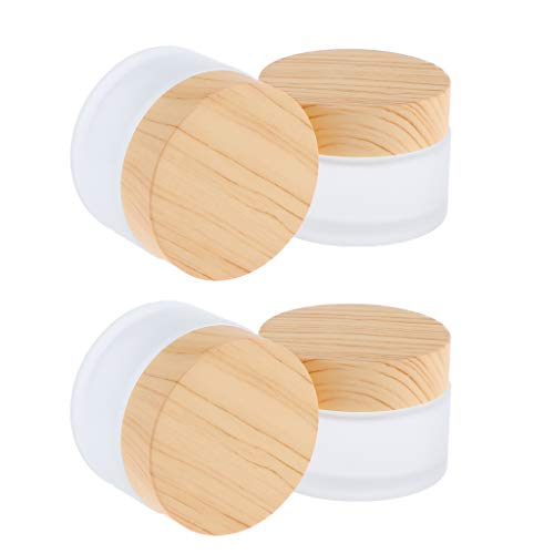 B Blesiya 4 Stück 30g Glas-Tiegel Leere Creme Glas-Dose, Salbentiegel, Kosmetik-Dose Kosmetik Behälter mit Holz Schraubdeckel