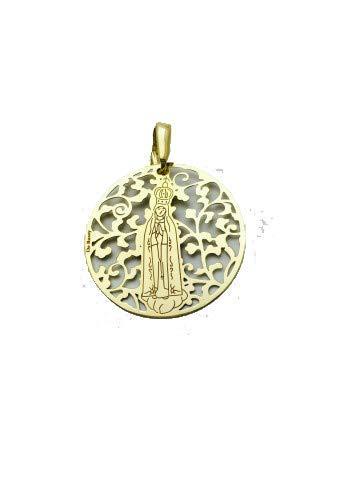 Medalla Virgen de Fátima en Plata de Ley Cubierta de Oro de 18kt