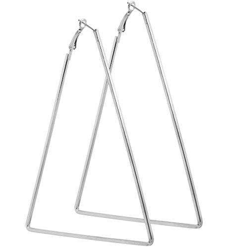 2LIVEfor Große Ohrringe Dreieck Creolen dreieckig Silber Schwarz Silber Hoop Earrings Ohrhänger Hoops Creolen sehr Groß Riesig Polygon Eckig Schlicht Modern Creolen XXL geometrisch (Silber)