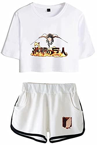 Attack on Titan Chándal Anime Eren Mikasa Ackerman AOT Conjunto de pijama para mujer Shingeki no Kyojin SNY Verano de manga corta camiseta y pantalones cortos conjuntos de 2 piezas