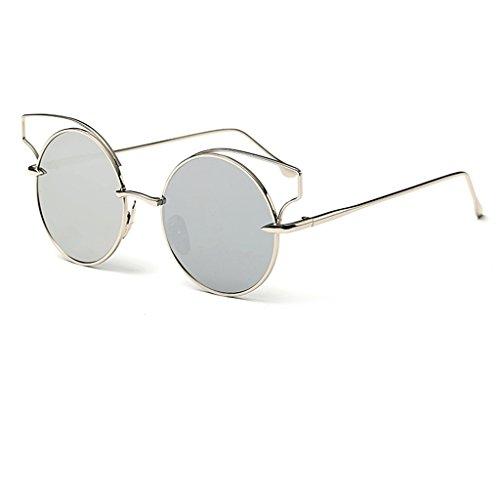 Gafas de sol @Gafas Gafas de sol Recorte Retro Ojo de Gato Redondas reflexivas Color Metalizado (Color : #4)