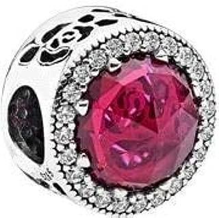 Pukido 2018 Mother's Day Lavender Radiant Hearts Charm fit Pandora Bracelet 925 Sterling Silver Rose Gold Color & Pink CZ Beads. - (Color: FL529)
