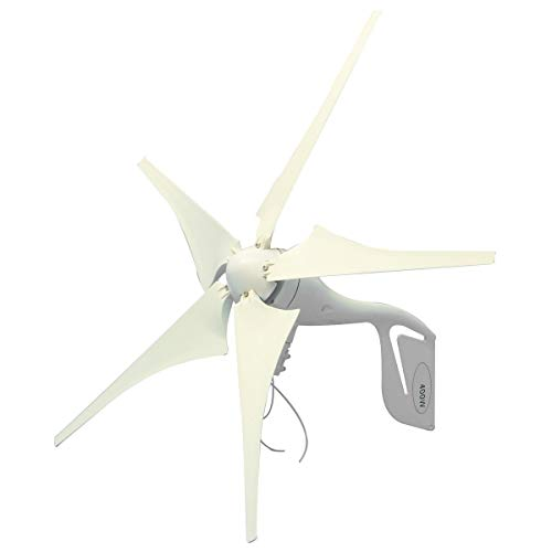 FJL Aerogenerador de Eje Vertical Generador de energía eólica de 400W 5 Cuchillas + DC 12V / 24V Controlador de Carga Impermeable 300 / 600W Generador de energía eólica Aerogeneradores