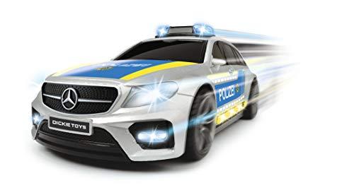 Dickie Toys 203716018 Mercedes-AMG E43, Spielzeugauto, Polizeiauto, Fahrzeug mit licht & Sound, 1:16, Silber/blau