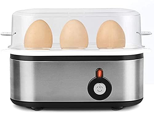 Cocedor De Huevos Eléctrico para Huevos Duros O Pasados por Agua, Capacidad para 3 Huevos, Cocedor De Huevos De Acero Inoxidable con Apagado Automático