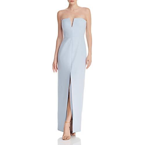 BCBG Max Azria Womens Strapless Slit Evening Dress Blue 6