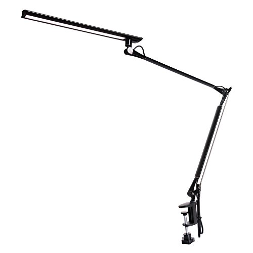 Amzrozky Drafting Table Lamp,Metal Architect LED Desk Lamp, Swing Arm Task Lamp with Clamp,Eye-Care Dimmable Office Light with 5 Color 5 Brightness,Touch Control,Memory Function,Black