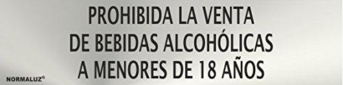 Normaluz RD707056 – zelfklevend bord voor alcoholische dranken vanaf 18 jaar, roestvrij staal, zelfklevend, 0,8 mm, 5 x 20 cm