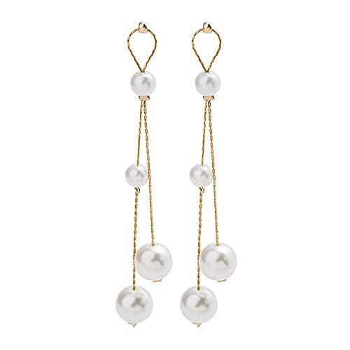 Pendientes de plata para mujer, pendientes colgantes con aguja de plata 925 con pendiente largo coreano rojo cadena de perlas blancas con borlas joyas con gota para las mujeres Fcb952 P