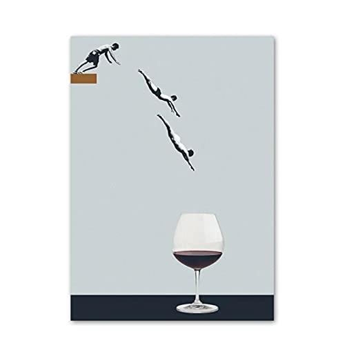 GUOQQ Póster nórdico Abstracto Buceo Copa de Vino Taza de café Natación Arte de la Pared Impresión en Lienzo Pintura Decoración Imágenes 23.6'X 35.4' (60x90cm) Sin Marco 1pcs
