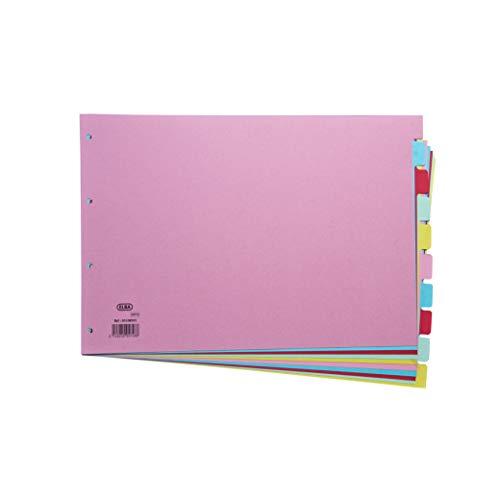 Farbiges Register im A3-Format von Elba, mit 10 Abschnitten, verschiedene Farben