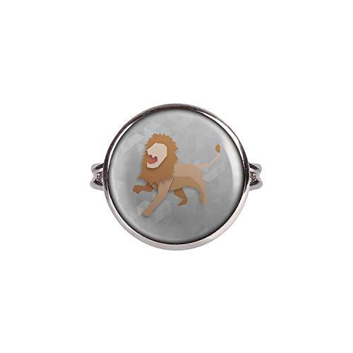 Mylery Ring mit Motiv Löwe Löwin Origami Silber 16mm