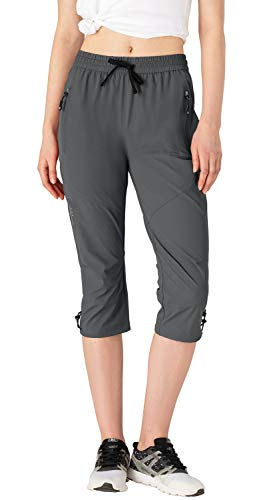 donhobo 3/4-Hosen für Damen Wanderhose Schnell Trocknende Outdoorhose Trekkinghose Camping Sommer Atmungsaktiv Freizeit Hose (Dunkelgrau, M)
