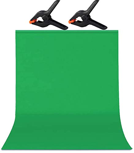 5 x 6.5 FT/1.5x2M Zoom Green Screen,Soft Photography Backdrop Background,for Photo Video Studio,Chroma Key and Televison,2xSpring Clamp,Polyester,No Rod Pocket
