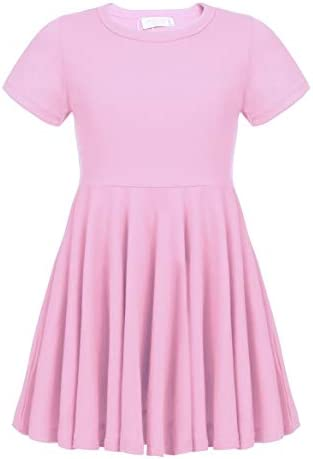 Arshiner Little Girls Short Sleeve A Line Casual Skater Dress Pink 140 Age for 10 11Y product image