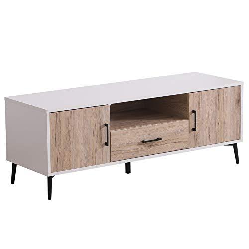 HOMCOM TV Cabinet Stand DVD Media Center Drawer Recorder Receiver System Unit Shelf Cupboards Storage Nordic Livin