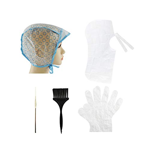 4 Sets Hair Coloring Kit, Includes 4 Pieces of PVC Highlight Caps with Styling Tools, Disposable Hair Dye Shawl, Gloves, Dye Brushes, for Dyeing Hair or Salon and Home Use Hair Highlighting Coloring