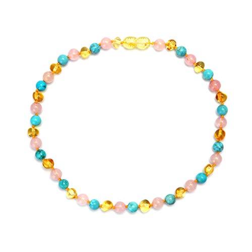 VIccoo Colgante de Collar, Diseño Collar con Cuentas Kallaite Amber Baby Mujer Joyería Cuentas de Regalo para la dentición