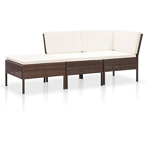 Tidyard Gartensofa 3-Sitzer Lounge Set Poly Rattan Gartenmöbel Loungemöbel Sitzgruppe 3 Personen Sofagarnitur Gartengarnitur Sitzgarnitur für Garten Terrasse, 3 teilig Braun typ-2