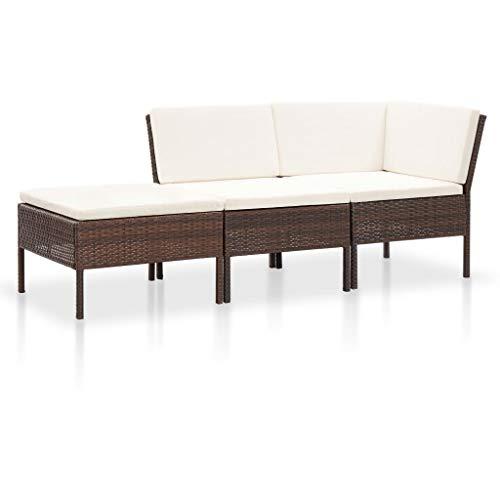 vidaXL Gartenmöbel 3-TLG. mit Auflagen Sitzgruppe Garten Garnitur Lounge Sofa Sitzgarnitur Gartenset Gartensofa Ecksofa Mittelsofa Fußhocker Poly Rattan Braun