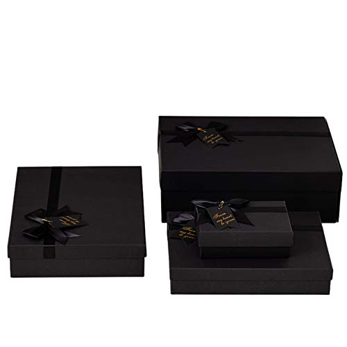 Friday Premium Black Gift Boxes for Gift, Birthday, Party, Christmas, Sturdy Storage Box (4 Boxes in Different Sizes 6x4x2inches, 9.5x6.7x2.5inches, 11x8x3.5inches, 13x10x4.3inches) (Black)