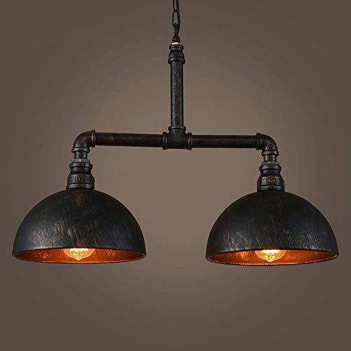 NZDY Industrielle Vintage Pendelleuchte Metall Wasserpfeife Lampe Rustikale Steampunk Retro Decke 2 Lichter E27 Sockel Edison Lampe Kronleuchter Für Insel Küche Restaurant Lichter