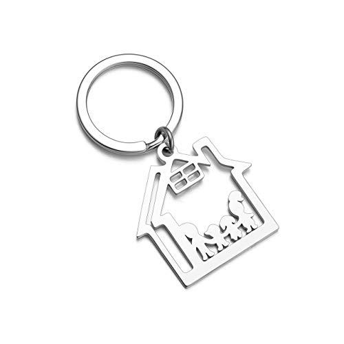 PiercingJaK Schlüsselanhänger Hausbesitzer Hohl Haus Hause Anhänger Keychain Silber