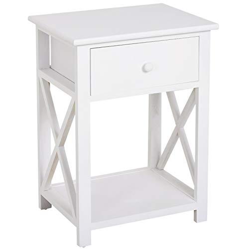 HOMCOM Nachttisch Telefontisch Beistelltisch Wohnzimmertisch mit Schublade Holz Weiß 40 x 30 x 55cm
