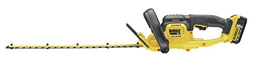 DEWALT - Taille-Haies Brushless XR 18V 5Ah Li-Ion - DCM563P1-QW - Taille Haie Électrique sans Fil avec Batterie et Chargeur - Lame 55cm - Écartement des Dents 1,9cm - Coupe 75min/Charge - 3,4kg