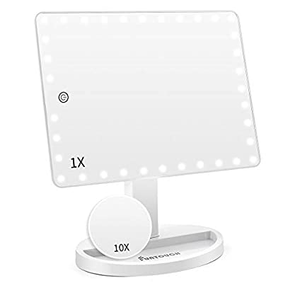 Large Lighted Vanity Makeup Mirror (X-Large Model), Funtouch Light Up Mirror with 35 LED Lights, Touch Screen and 10X Magnification Mirror, 360° Rotation Tabletop Cosmetic Mirror (White)