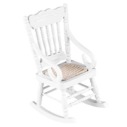 SOIMISS Rocking Chair Model Mini Rocking Chair Wooden Chair Miniature White Chair Model Tiny Furniture Toy for Kids Room (White)