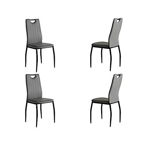 MOMMA HOME Silla de Comedor tapizada - Set de 4 Sillas - Modelo Sofia - Color Gris/Negro - Material