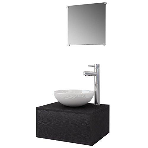 Festnight 4-TLG. Badezimmerm?bel-Set Badm?bel Set inkl. Unterschrank, Spiegel, Waschbecken und Wasserhahn - Schwarz