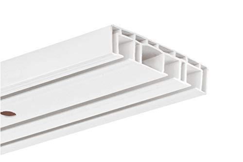 HUGG-Vorhang-Schiene (VS.380.3) 1-/ 2-/ 3- Lauf, Decken-Montage, Ihre Auswahl: 3-Lauf - Länge: 60 cm
