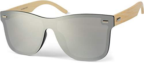 styleBREAKER Unisex Monoglas Nerd Sonnenbrille mit Bambus Bügeln und Polycarbonat Glas, Retro Style 09020112, Farbe:Gestell Hellbraun/Glas Silber verspiegelt