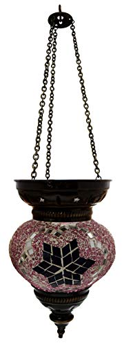 Handgemaakte glazen mozaïek Oosterse hanglamp staande lamp windlicht hanglamp plafondlamp buitenlamp caleidoscoop decoratie violet/zwarte ster Ø 13 cm