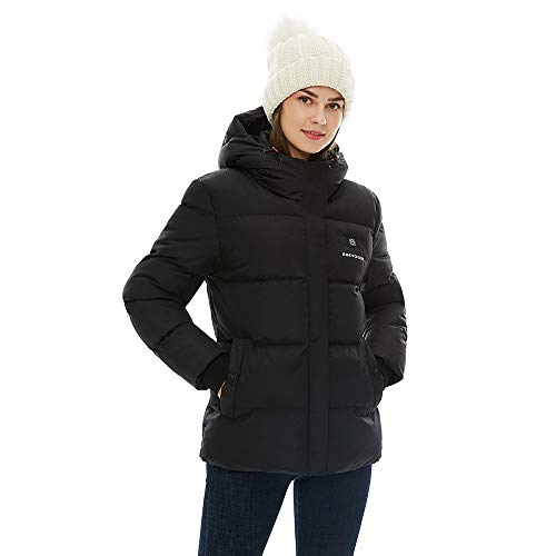 [2019 New] Women's Heated Jacket with Battery Pack, Thicken Heated Coat with Adjustable Hood Water&Wind Resistant Black
