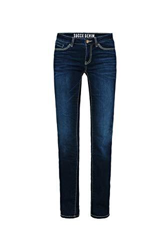 SOCCX Damen Regular Fit Jeans RO:My mit Kontrastnähten
