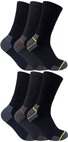 Calcetines de trabajo de larga duración para botas con punta de acero, para hombre, 6 pares, talles 6 a 11 del Reino Unido Negro 6 Pairs Large