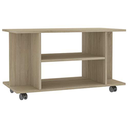 vidaXL Mueble para TV con Ruedas Aglomerado Color Roble Sonoma 80x40x40cm Casa Accesorios Centro Entretenimiento y Multimedia Diseño Moderno Práctico