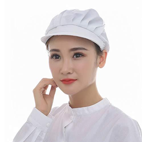 給食帽子 つば付き フリーサイズ 男女兼用 白 厨房 衛生キャップ キッチン キャップ 給食 調理場 衛生帽 (ホワイト)