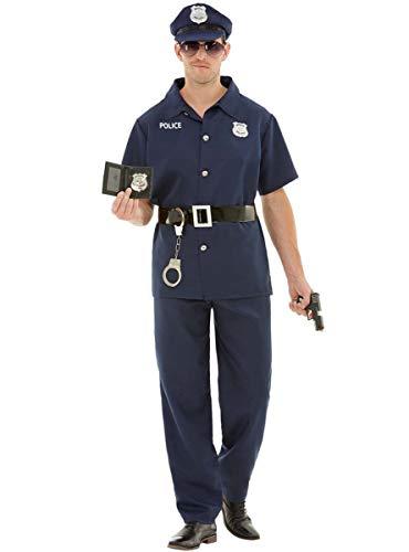 Funidelia | Disfraz de policía para Hombre Talla M ▶ Guardia, Agente, FBI, Profesiones - Azul