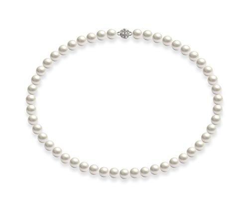 Schmuckwilli Südsee Tahiti Damen Muschelkernperlen Perlenkette Weiß mit Super Hocher Glanz Magnetverschluß echte Muschel 50cm dmk0018-50 (8mm)