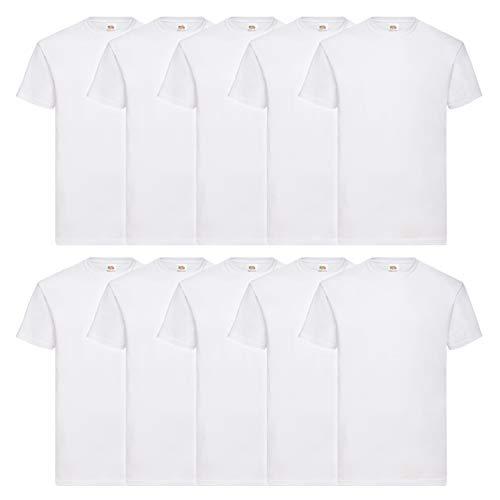 Fruit of the Loom 10 T Shirts Valueweight T Rundhals S M L XL XXL 3XL 4XL 5XL Übergröße Diverse Farbsets auswählbar (L, Weiss)