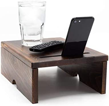 Sofa Arm Table w Phone Stand Adjustable Pine Wood Couch Arm Table for Up to 8 Wide Armrests product image
