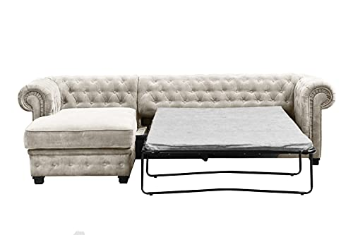 Imperial, Chesterfield Style, Corner, Sofa, Sofa Bed, 2 seat, 3 seat, Pouf, (Corner Left Sofa Bed, Creme)