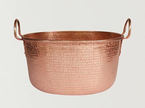 Olla de cobre hecha a mano gruesa olla Binaural Boil Medicine Pot Hervir azúcar, Hervir mermelada y Profundizar Olla de sopa de cobre, cacerola grande (32 cm, sin tapa)