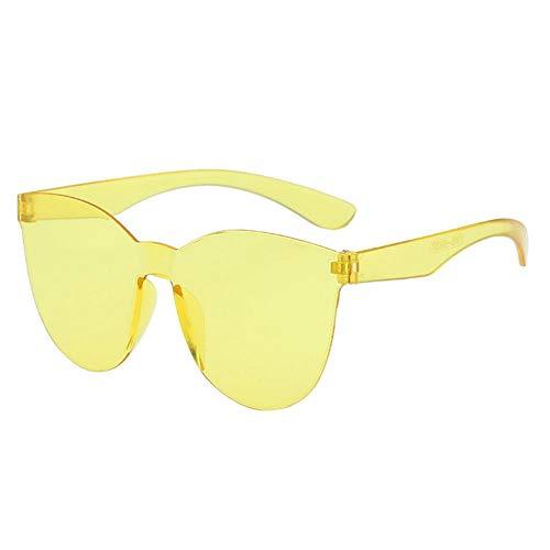 VJGOAL Gafas de sol unisex sin montura de moda retro Gafas sin marco de color caramelo para mujer Gafas de sol transparentes de gelatina