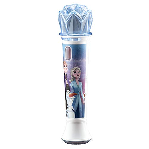Disney Frozen 2 Karaoke Sing Along Microphone for Kids, Built in Music, Flashing Lights, Pretend Mic, Toys for Kids Karaoke Machine, Connects MP3 Player Aux in Audio Device